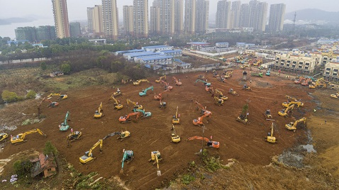 İş Makinası - Çin 6 günde 1.000 kişilik hastane inşa edecek
